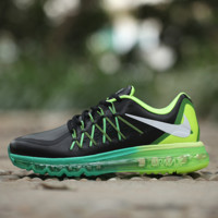 """""""NIKE"""" knitting fashion casual men shoes running shoes breathable couple shoes Black(Fluorescence green+green sole)"""