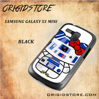 R2D2 Star Wars Hello Kitty Black White Snap On 3D For Samsung Galaxy S3 Mini Case