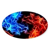 flames of good and evil oval sticker