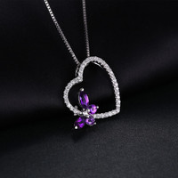Butterfly Heart Natural Purple Amethyst Pendant Necklace