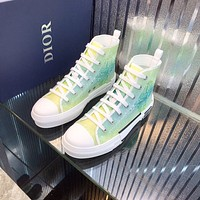 Dior Men's Oblique Canvas B23 Fashion High Top Sneakers Shoes