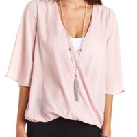 Flutter Sleeve Chiffon Wrap Top by Charlotte Russe