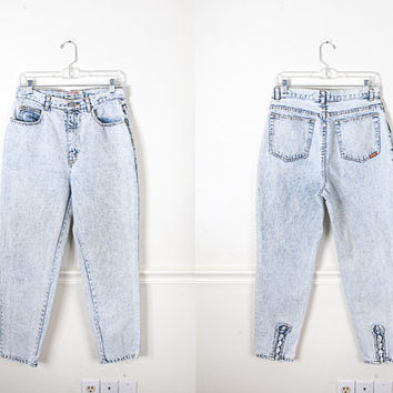1980s Acid Wash Jeans with Ankle BOWS / Vintage High Waisted 80s Jeans / 90s Grunge Jeans / 80s Denim Skinny Jeans / High Waist Mom Jeans