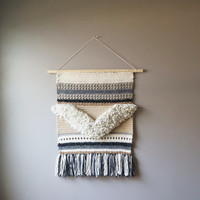 Modern Tapestry / Boho Wall Hanging / Fringe Tapestry / OOAK Crochet Chevron Tapestry / Cream Brown / Rustic Textile / Modern Home Décor