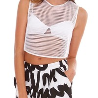 Daredevil Mesh Crop Top - White
