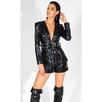 Queen Of The Galaxy Black Patent PU Faux Leather Long Sleeve V Neck Two Piece Romper Set