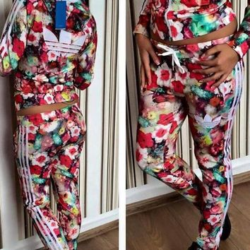 Adidas Fashion Leather Flower Running Sport Coat Pants Set Two-Piece Sportswear