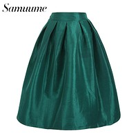 Samuume Fashion Multi Color Solid Pleated Midi Skirts Women 2017 Classic Elastic High Waist Big Swing Skater Women Skirts A7008