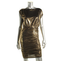 Alice + Olivia Womens Metallic Ruched Cocktail Dress