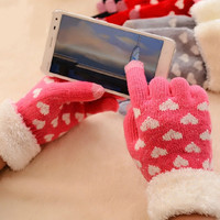 Women's Knitted Touch Gloves, Girls Warm Plush Hearts Full Fingers Gloves in Autumn and Winter = 1957995204