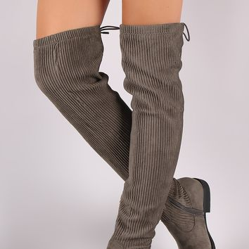 Bamboo Stitchwork Suede Back Lace-Up Riding OTK Boots