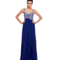 Royal Tiered Chiffon & Beaded Gown Prom 2015