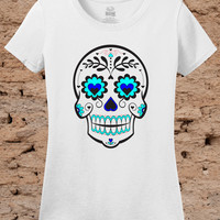 Day of the Dead Dia De Las Muertas Ladies Shirt Womens Tee Girls Youth Tshirt Fitted Skull Blue White Small Medium Large Xlarge 2XL 3XL Crew