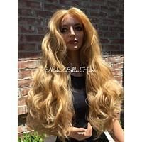 """Blond Waves Human Hair Blend Multi Parting Lace front wig 26"""""""