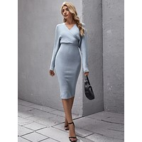 SHEIN Surplice Neck Dolman Sleeve Pencil Sweater Dress