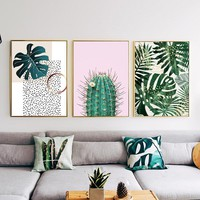 Nordic Style Plant Tropical Leaf Flower Cactus Canvas Printing Wall Art Poster Wall Pictures Living Room Home Decor