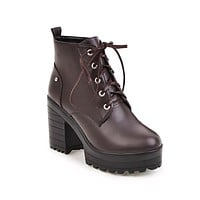Lace Up High Heels Ankle Boots Chunky Heel 8150