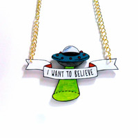 X-Files 'I WANT TO BELIEVE' Necklace