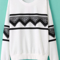 White Geometric Printed Sweatshirt