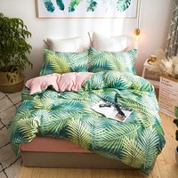 Leaf print green Bedding Set Queen size bed set Soft Bedsheets linen set Duvet/Quilt Cover pillowcases Polyester fabric