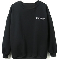 Black Spaceship Pattern Fleece Lining Long Sleeve Sweatshirt