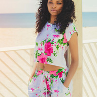 Kenia Pink Floral Crop Top and Shorts Matching Set