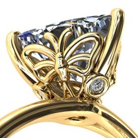 Butterfly Wings Trillion Moissanite 3 Prong Engagement Ring