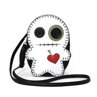 Cute Little Spooky White Stitched Voodoo Doll Cross Body Bag Purse