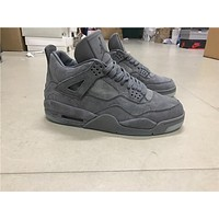 "KAWS x Air Jordan 4 ""Cool Grey"" grey Basketball Shoes 40-47"