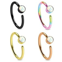 Nose Ring Hoop Tragus Earring CZ Black Rose Gold Rainbow Stainless Steel 20G Piercing Set 4PC