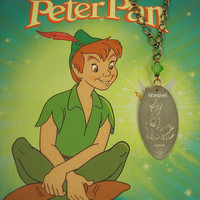 Disneyland - PETER PAN with Green Crystal Bead Necklace - Smashed Quarter.  Recycled Art  -  Limited Edition
