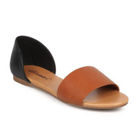 """Brigit"" Contrast Heel and Toe Strap Flat Sandals - Black/Tan"