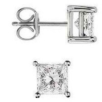 Stud Earrings Sterling Silver .925 Genuine Princess Cut Cubic Zirconia 1.5 Carats Total Weight