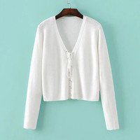 White Deep V Neck Lace Up Sweater