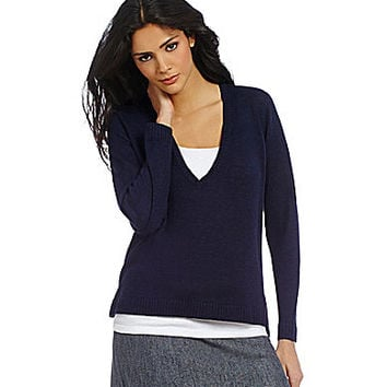 Eileen Fisher Deep V-Neck Boxy Knit Top