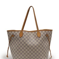 LOUIS VUITTON Neverfull MM Tote Bag Damier Azur white