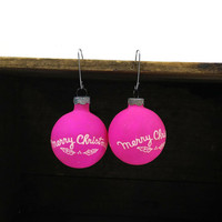Bright pink Shiny Brite Merry Christmas tree ornaments, set of 2
