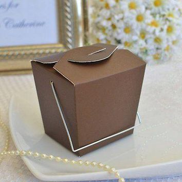 12 Brown Chinese Take Out Boxes with Handle Favor Gift Boxes