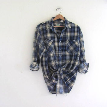 Vintage blue Plaid Flannel / Grunge Shirt / washed out and distressed button up shirt