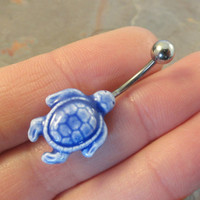 Blue Turtle Belly Button Ring Jewelry