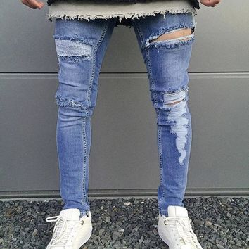 Mens Skinny Stretch Denim Pant Distressed Ripped Freyed Slim Fit Jeans Trousers Casual Men's Pencil Pants