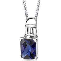Created Sapphire Pendant Necklace Sterling Silver Rhodium Nickel Finish 2.75 carats Radiant Cut