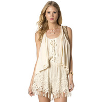 Miss Me Womens Run Wild Faux Suede Fringe Vest