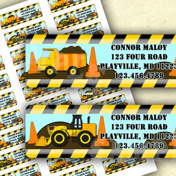 Construction Zone Birthday - Under Construction Baby Shower - Construction Return Address Labels - Construction Property Of Labels