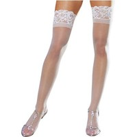 Adult Sheer White Thigh High Stockings with Lace Top- Party City