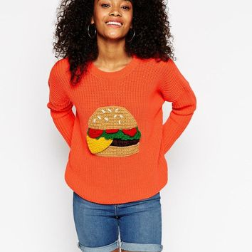 ASOS | ASOS Chunky Sweater With Crochet Burger Motif at ASOS