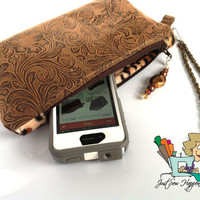 Brown Vegan Leather Clutch, Wristlet, Zippered Bag with Cheetha Faux Fur Lining (Free US Shipping)