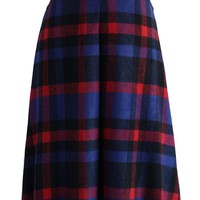 Timeless Plaids Wool-blend Midi Skirt