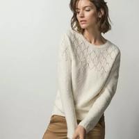 Beige Cutout Patterned Knitted Sweater