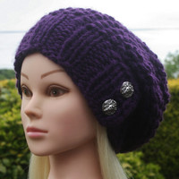 Knit Hat Womens Hat Slouchy Hat in Purple -Beanie Hat-Womens Accessories